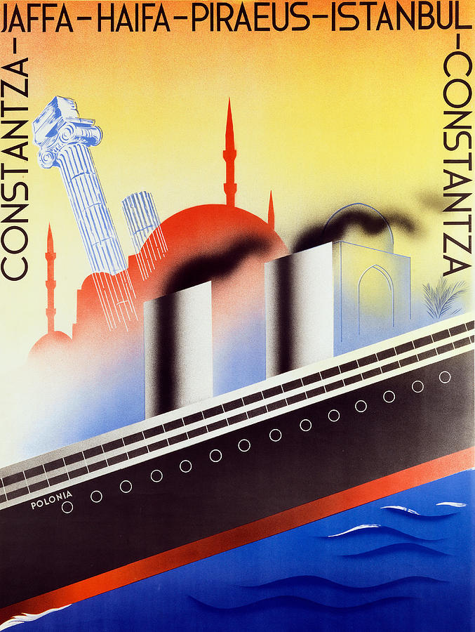 Publicity Painting - Poster Advertising The Polish Palestine Line by Zygmunt Glinicki