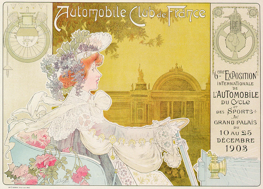 Vintage Drawing - Poster Advertising The Sixth Exhibition Of The Automobile Club De France by J Barreau
