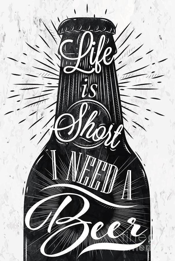 Symbol Digital Art - Poster Bottle Restaurant In Retro by Anna42f