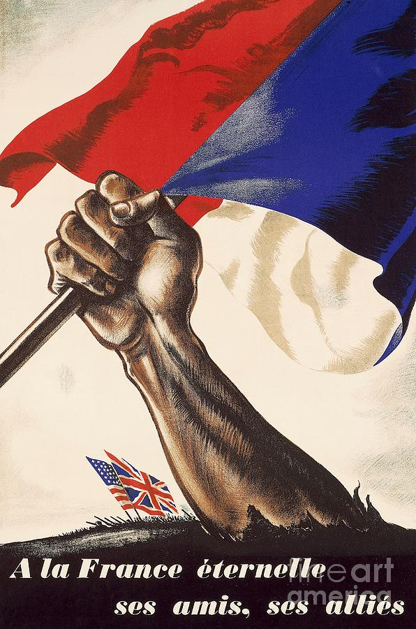 The Forties Drawing - Poster For Liberation Of France From World War II 1944 by Anonymous