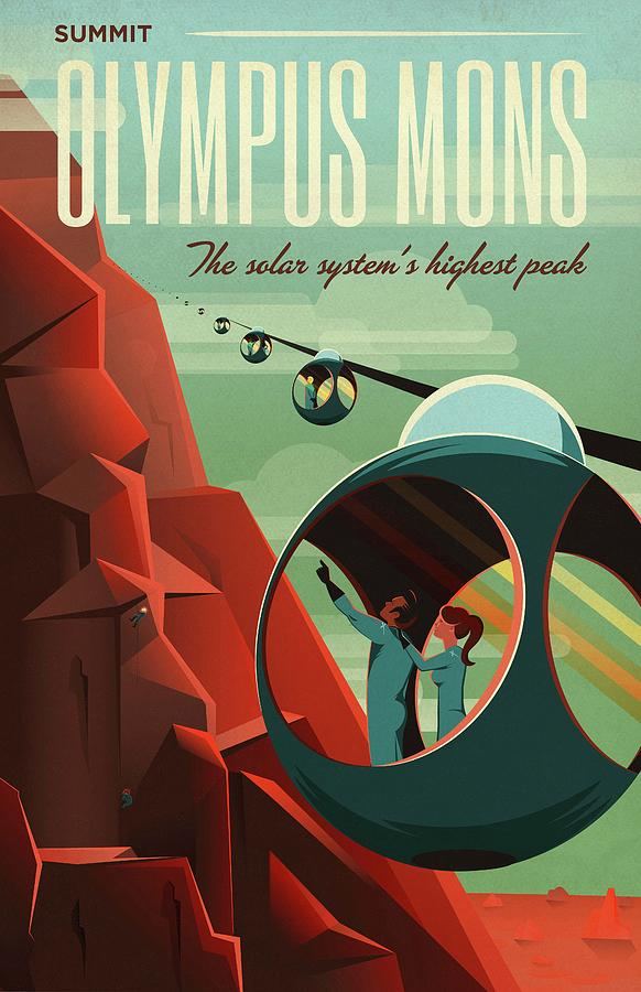 Artwork Photograph - Poster For Tours Of Olympus Mons by Nasa/science Photo Library