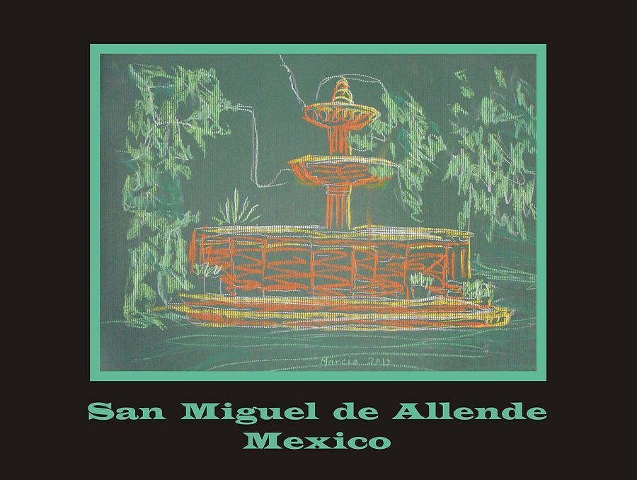 San Miguel De Allende Pastel - Poster - Green Fountain by Marcia Meade