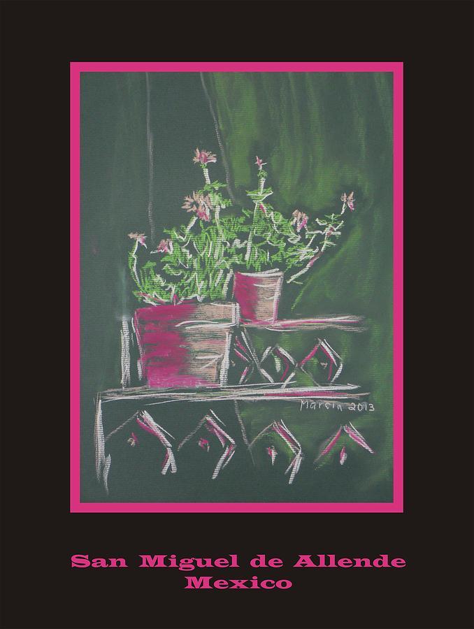 San Miguel De Allende Pastel - Poster - Green Geranium by Marcia Meade