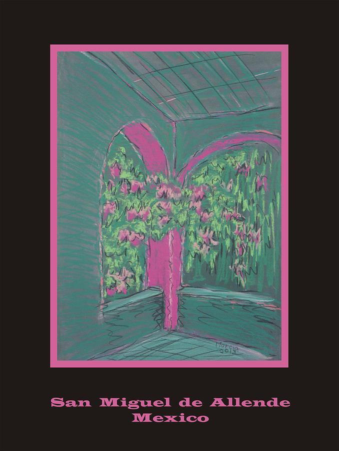 San Miguel De Allende Pastel - Poster - Green Patio by Marcia Meade