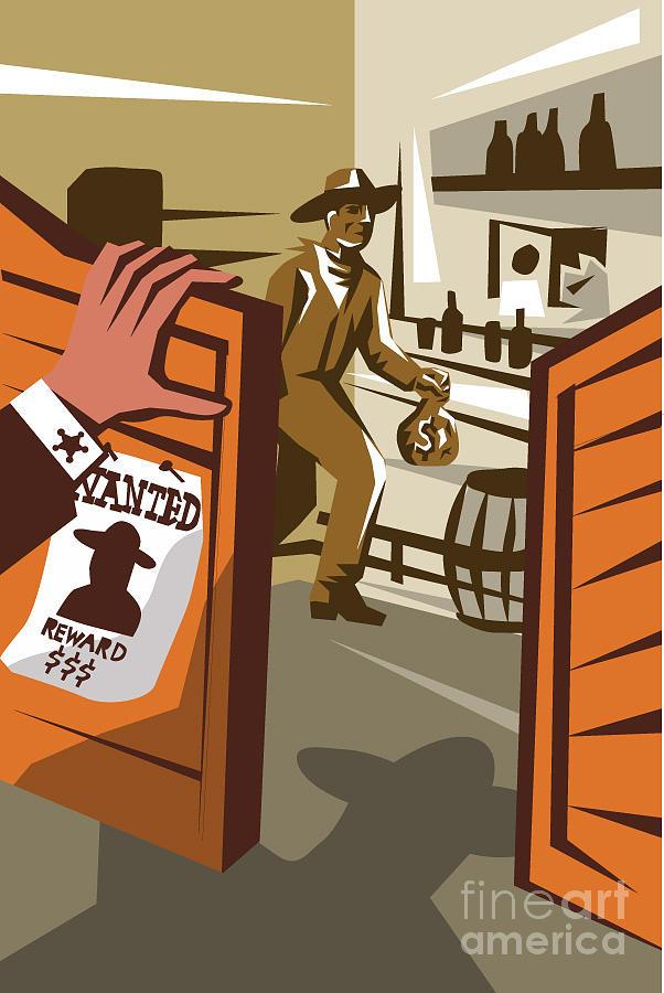 Door Digital Art - Poster Illustration Of An Outlaw Cowboy by Patrimonio Designs Ltd