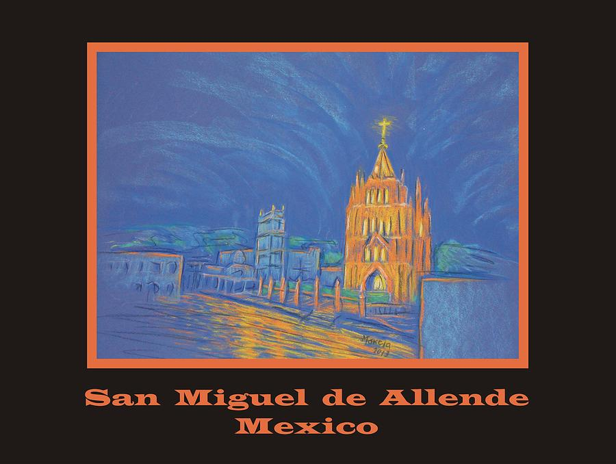 San Miguel De Allende Pastel - Poster - Jardin In The Parroquia by Marcia Meade