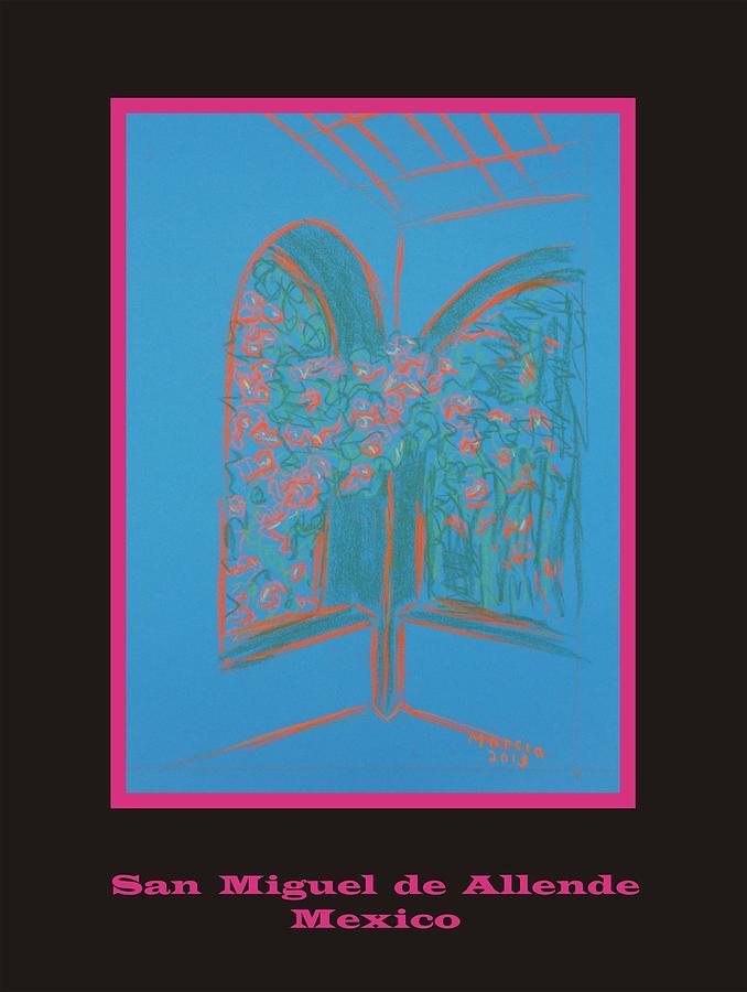 San Miguel De Allende Pastel - Poster - Light Blue Patio by Marcia Meade
