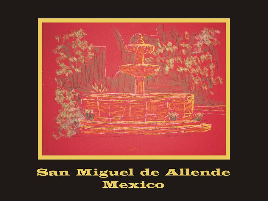 San Miguel De Allende Pastel - Poster - Orange Fountain by Marcia Meade