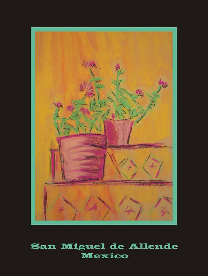 San Miguel De Allende Pastel - Poster - Orange Geranium by Marcia Meade