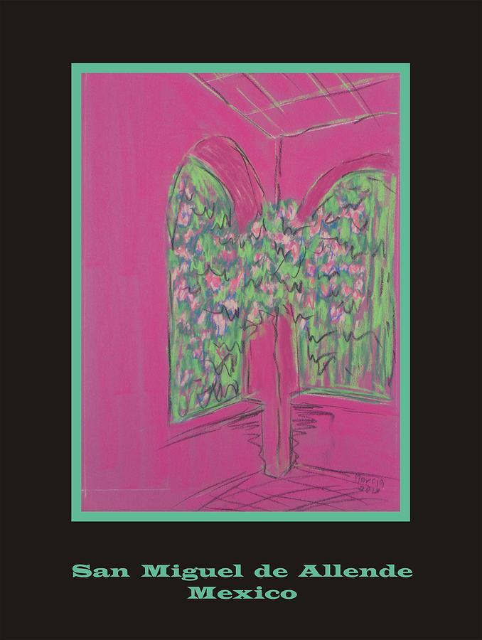 San Miguel De Allende Pastel - Poster -  Pink Patio by Marcia Meade