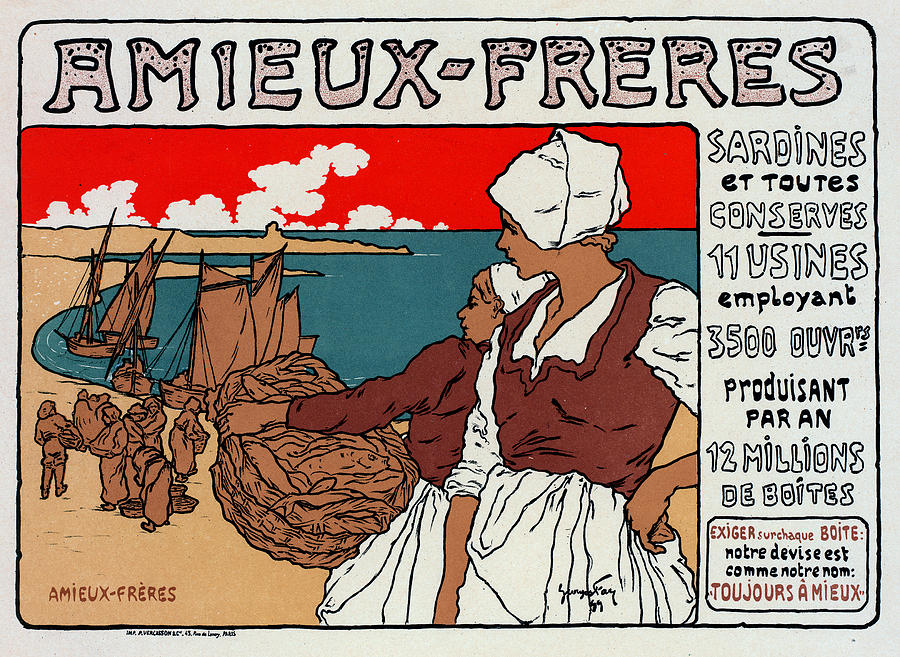 1890s Drawing - Poster Sardines, 1899 by Granger