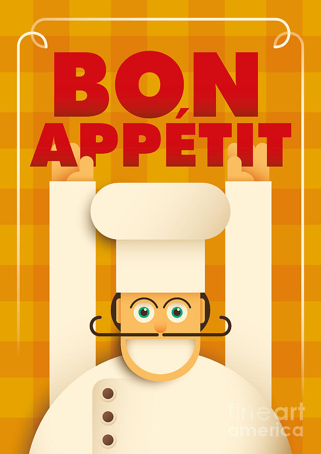 Typography Digital Art - Poster With A Comic Chef. Vector by Radoman Durkovic