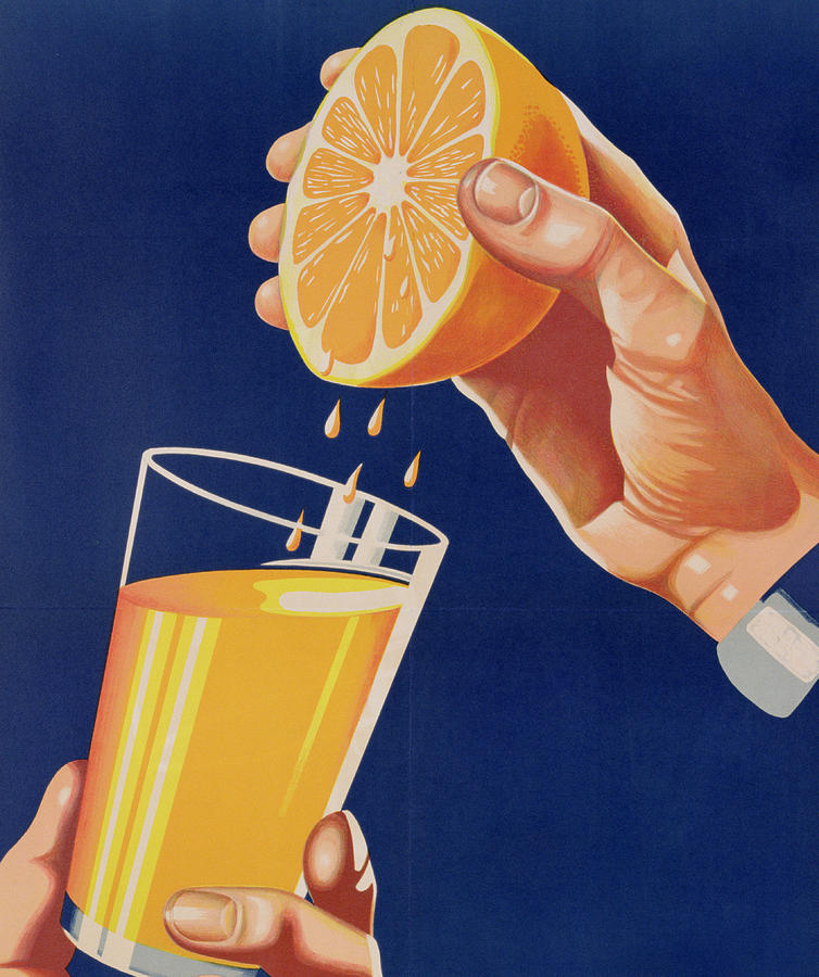 Drink; Advertisement; Advert; Advertising; Publicity; Publicising; Food; Promoting; Hand; Squeezing; Forties Drawing - Poster With A Glass Of Orange Juice by Israeli School