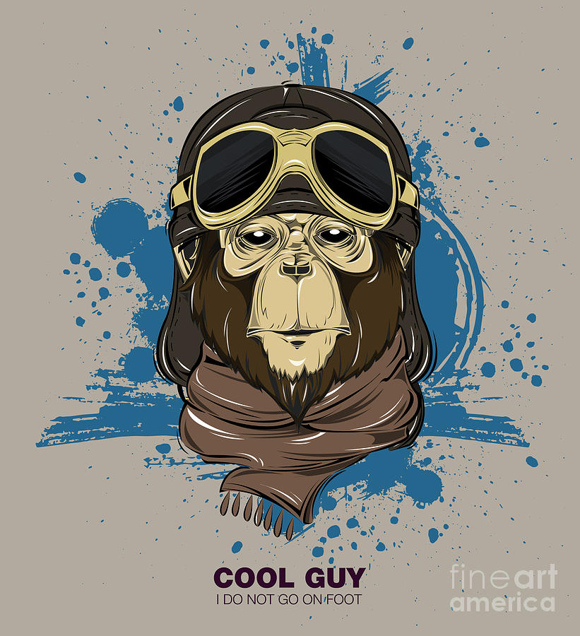 Monkey Digital Art - Poster With Portrait Of Monkey Wearing by Now Design