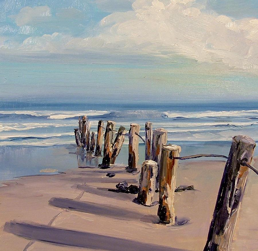 Summer Painting - Posts Just Touch The Water by Dianna Poindexter