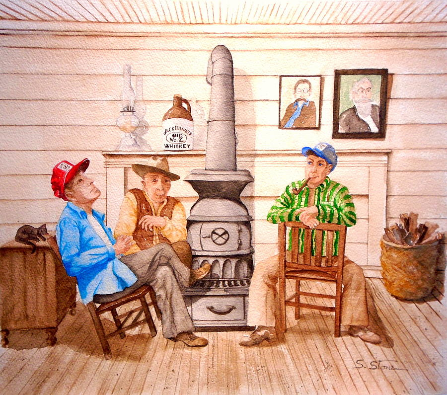 Watercolor Painting - Pot Belly Stove by Sandra Stone