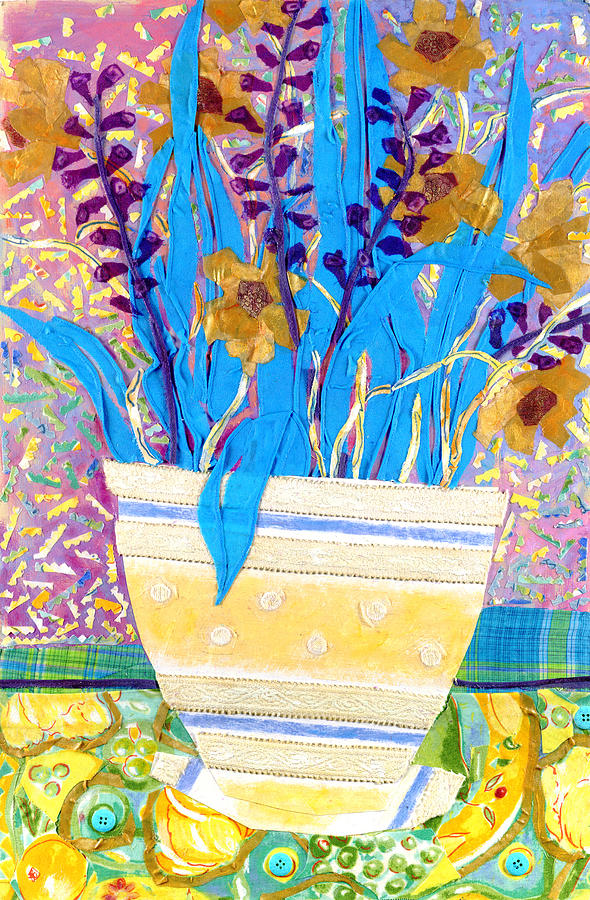Flowers In A Vase Mixed Media - Pot Of Blue by Diane Fine