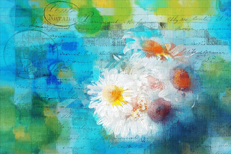 Abstract Photograph - Pot Of Daisies 02 - J3327100-bl1t22a by Variance Collections
