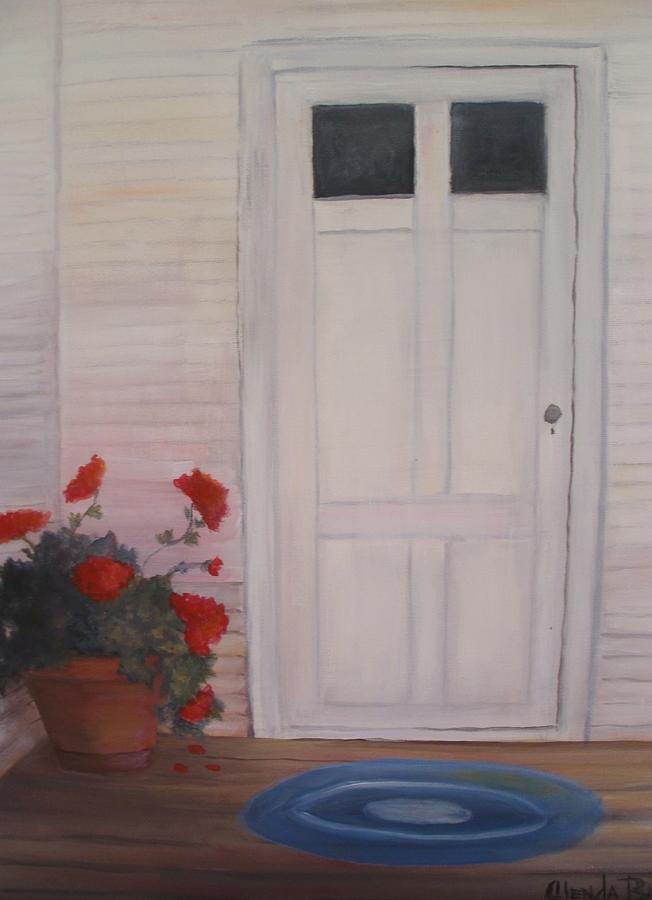 Original Painting - Pot Of Geraniums by Glenda Barrett
