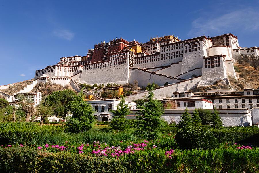 Potala Palace Photograph - Potala Palace with Flowers by Zhijian Tao