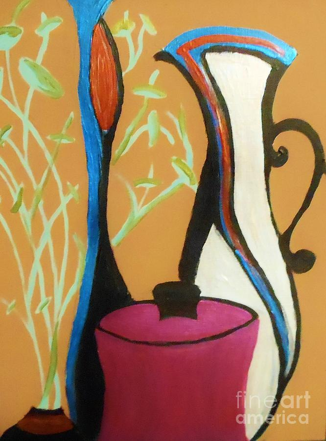 Abstract Painting - Pots And Petals by Marie Bulger