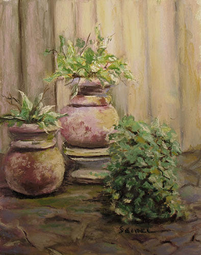 Pots Painting - Pots by Barbara Seibel