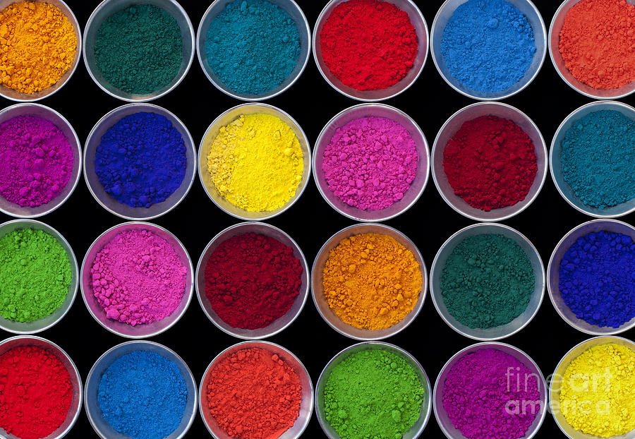 India Photograph - Pots of Coloured Powder Pattern by Tim Gainey