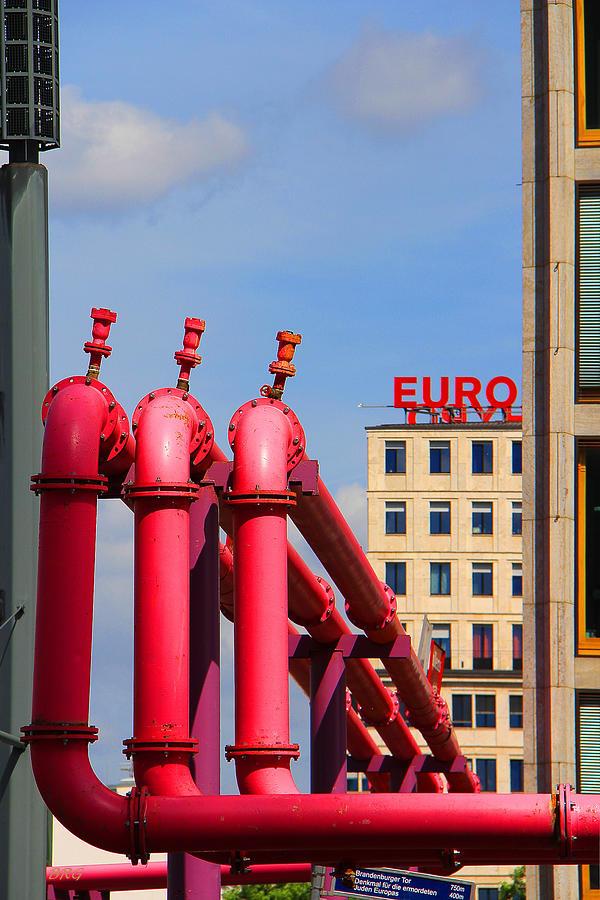 Potsdamer Platz Photograph - Potsdamer Platz Pink Pipes In Berlin by Ben and Raisa Gertsberg