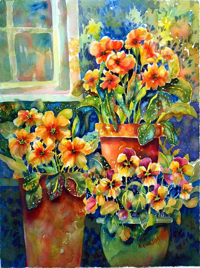 Pansies Painting - Potted Pansies II by Ann  Nicholson
