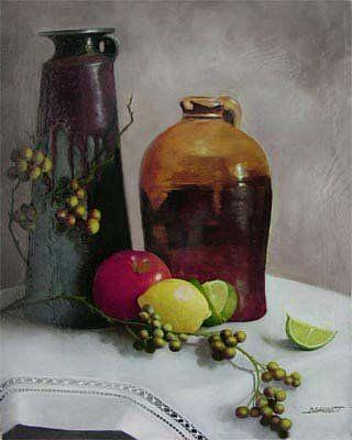 Pottery Painting - Pottery and Fruit by Diana L Hund