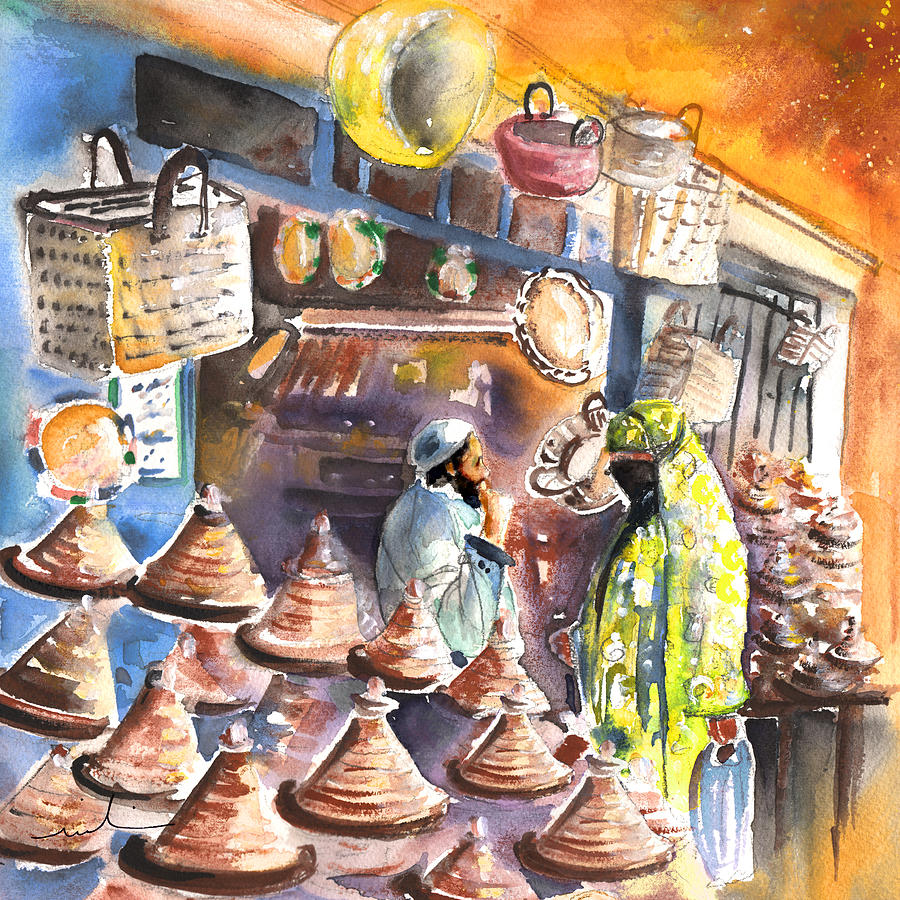 Travel Painting - Pottery Seller In Essaouira by Miki De Goodaboom