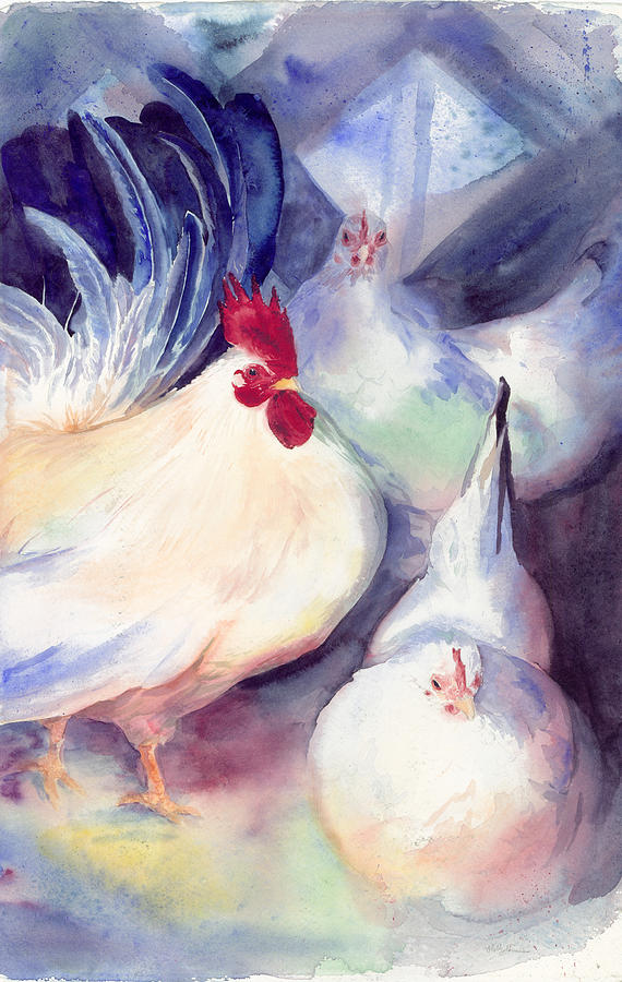 Chicken Painting - Poulet Irese by Holly Carton