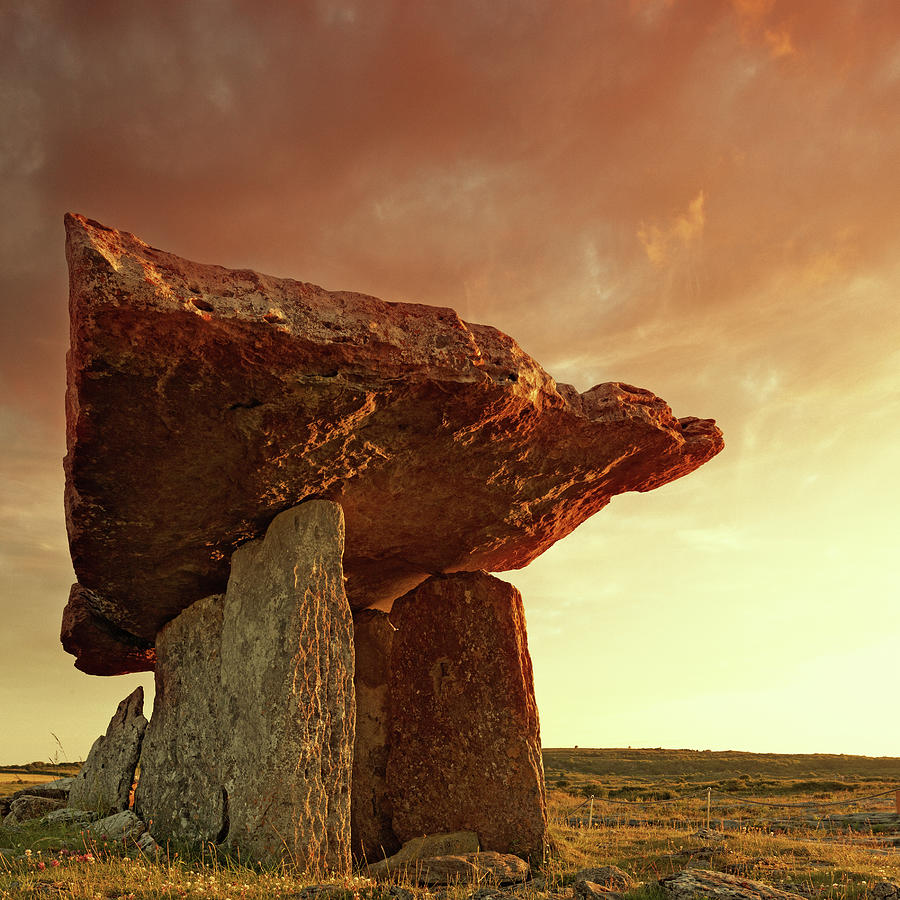 Prehistoric Era Photograph - Poulnabrone Dolmen At Sunset by Mammuth