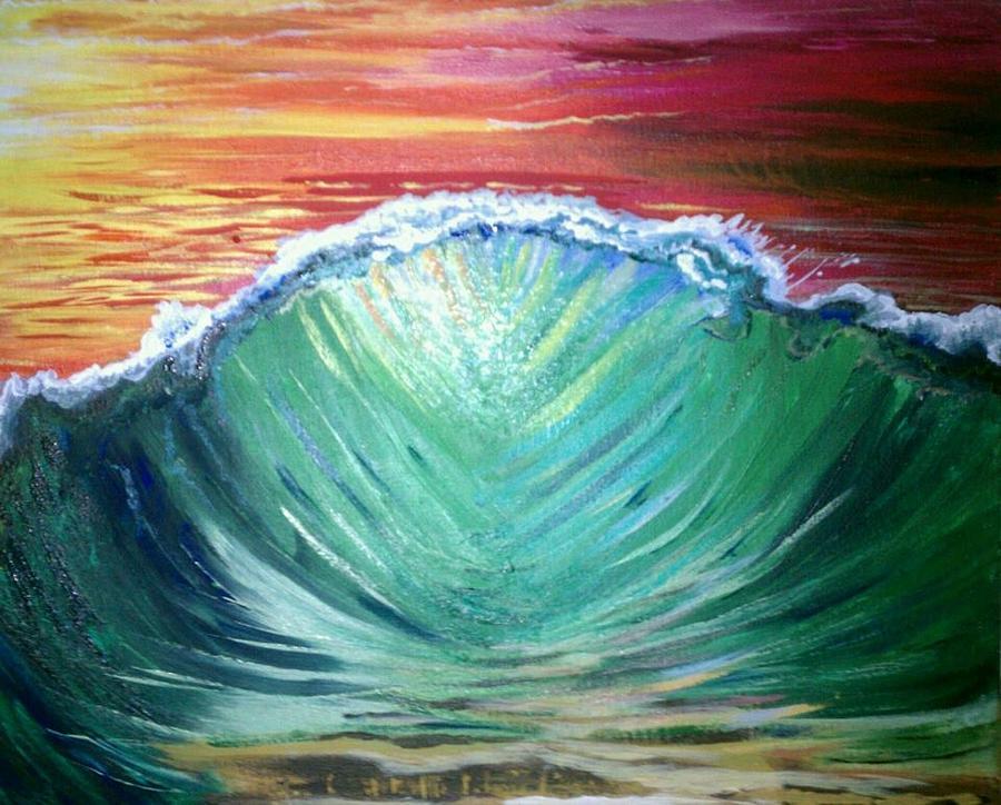 Beach Painting - Pounding Shorebreak by Joe Fussner