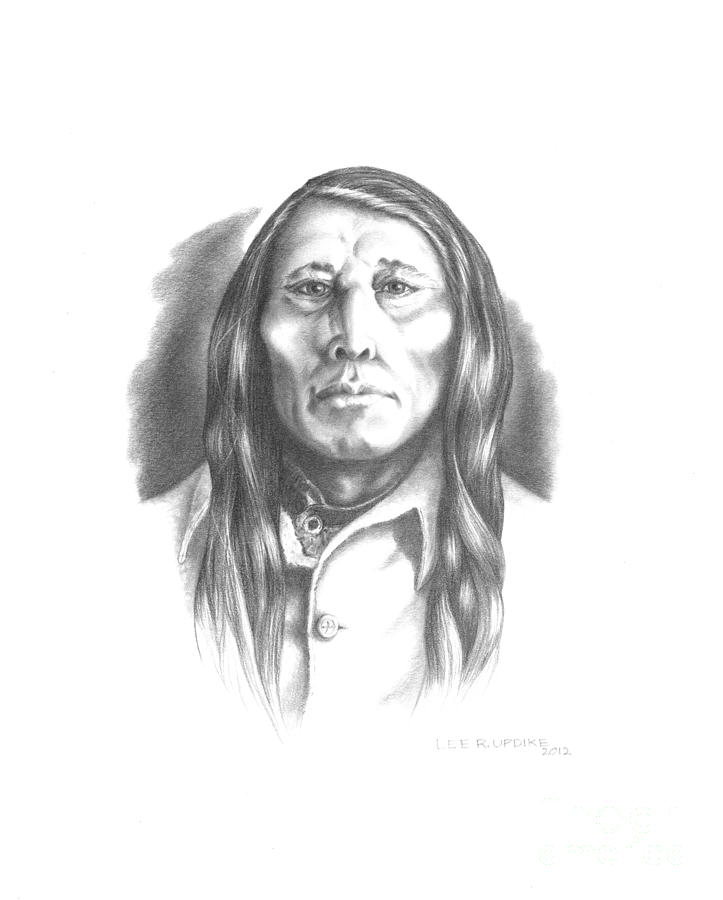 Poundmaker Drawing - Poundmaker by Lee Updike