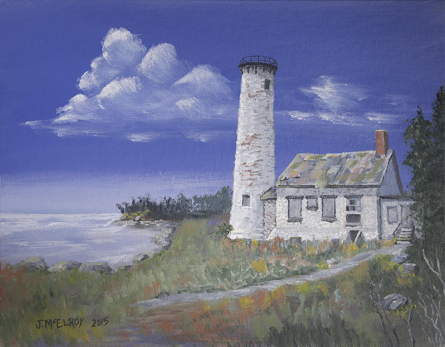 Poverty Island Painting - Poverty Island Lighthouse by Jerry McElroy