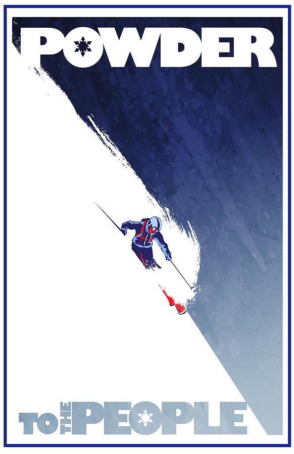 Ski Painting - Powder to the People by Sassan Filsoof