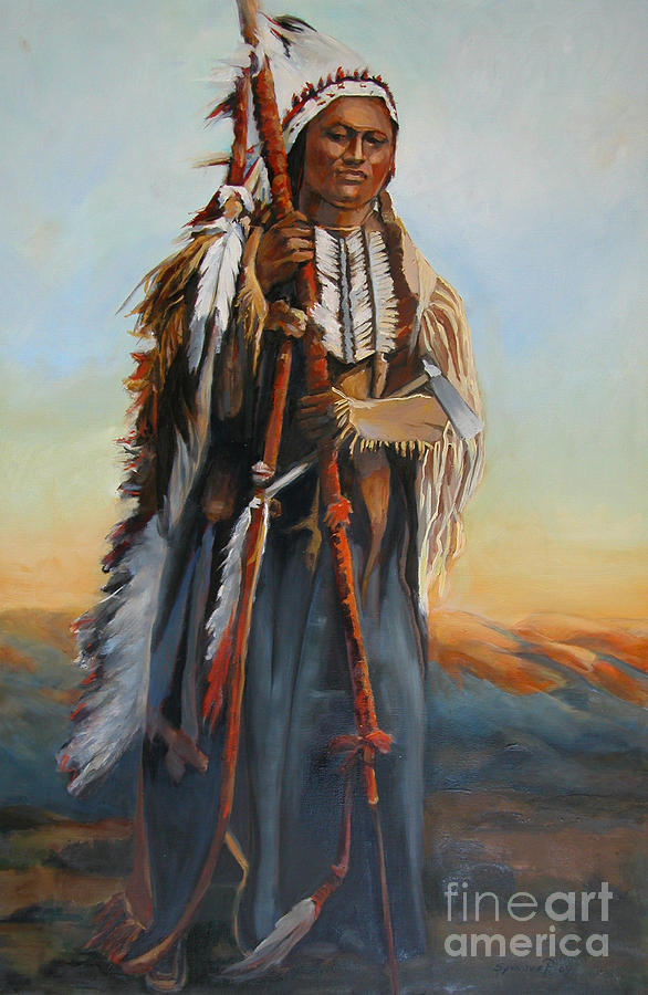 American Indian Portrait Painting - Powderface by Synnove Pettersen