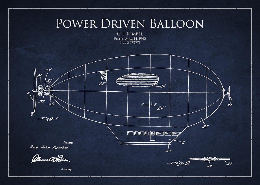 Balloon Drawing - Power Driven Balloon Patent by Aged Pixel