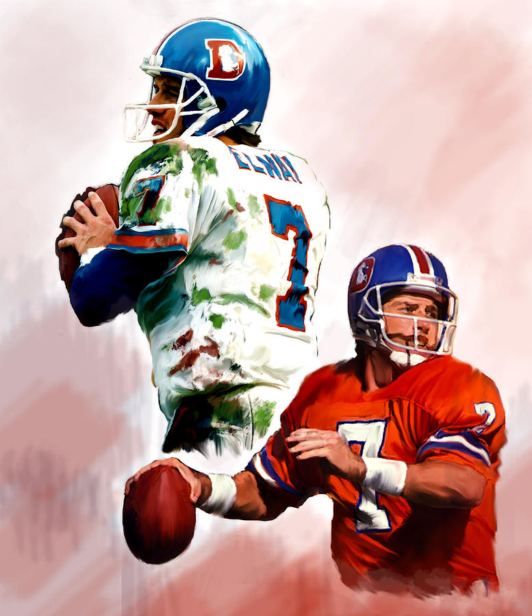 Denver Broncos Painting - John Elway Power Force  by Iconic Images Art Gallery David Pucciarelli