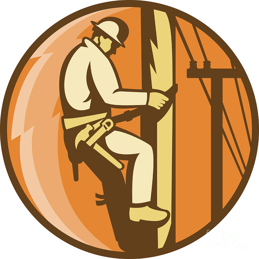 Power Lineman Electrician Climbing Utility Post Aloysius Patrimonio
