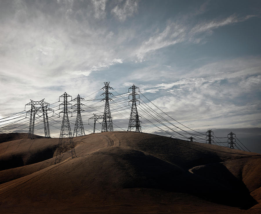 Power Lines In California Hills Photograph by Ed Freeman