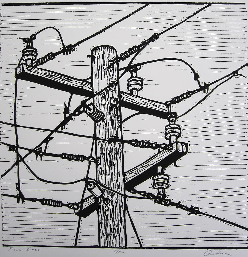 Power Drawing - Power Lines by William Cauthern