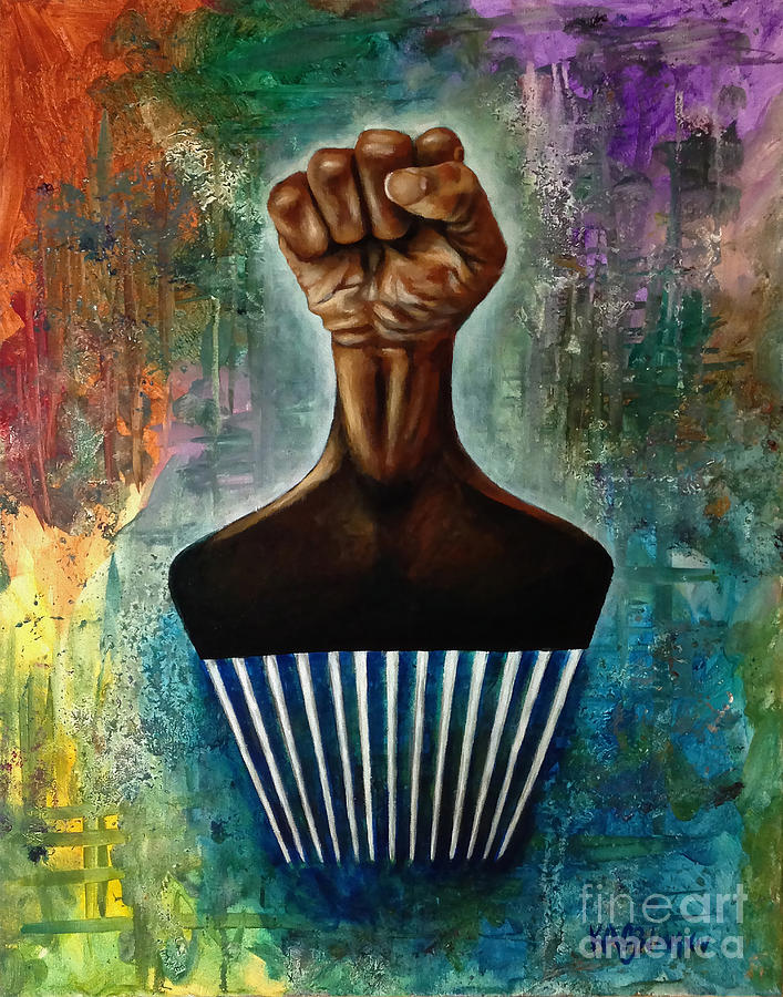 Afro Painting - Power To The Afro Pick by Ka-Son Reeves