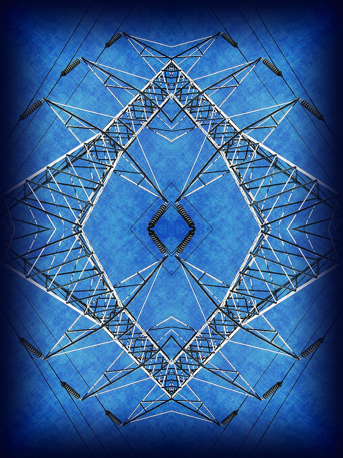 Transmission Tower Digital Art - Power Up 2 by Wendy J St Christopher