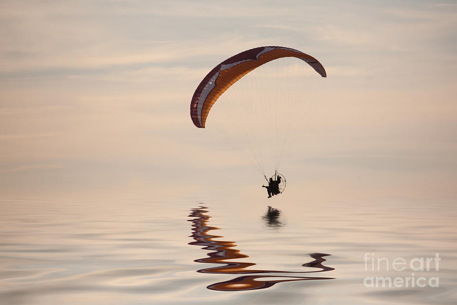 Paramotoring Photograph - Powered Paraglider by John Edwards
