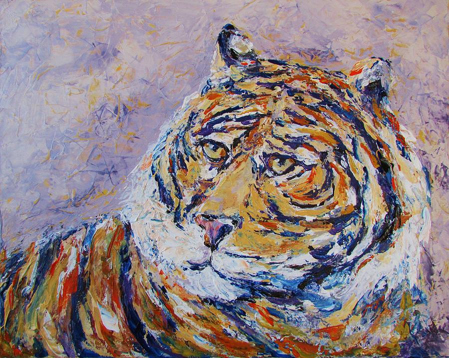 Tiger Painting - Powerful Focus by Kat Griffin