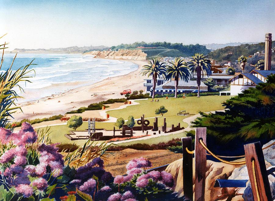 Del Mar Painting - Powerhouse Beach Del Mar Lilac by Mary Helmreich