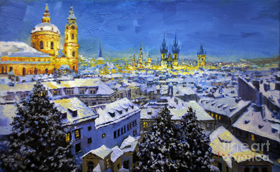 Acrilic Painting - Prague After Snow Fall by Yuriy Shevchuk