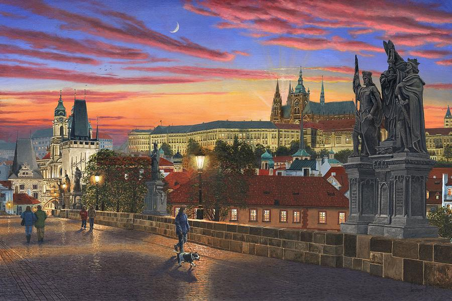 Landscape Painting - Prague At Dusk by Richard Harpum